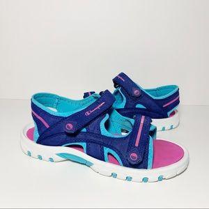 Champion Childrens Sandals Velcro Strap Blue Pink
